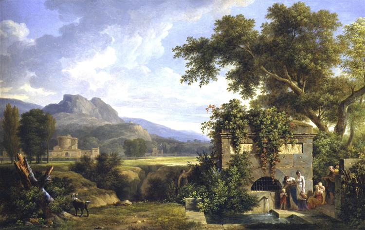 Classical Landscape with Figures Drinking by a Fountain, 1806 - Pierre-Henri de Valenciennes