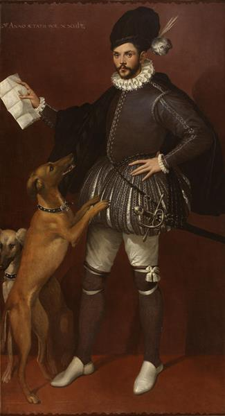 Portrait of a Cavalier with his Hunting Dogs - Bartolomeo Passerotti