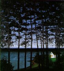 Casa de campo do pescador - Harald Sohlberg