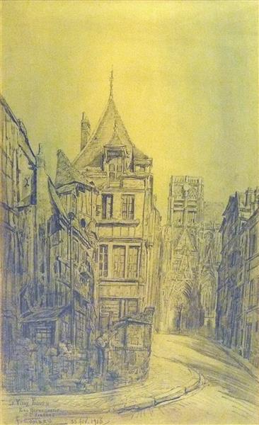 Le Vieux Rouen, Rue Haranguerie et St Vincent, 1913 - Fernand Combes
