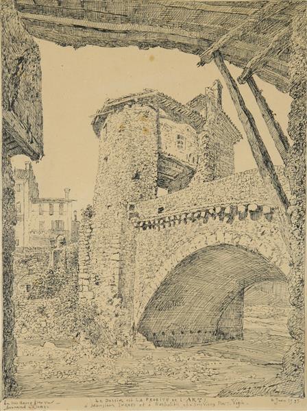 Sospel, Le Pont Vigie   31.5x23.1cm, 1925 - Fernand Combes