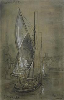 """Honfleur Le Vieux, """"Leurs Ports"""" - Fernand Combes"""