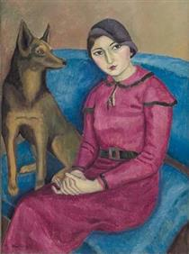portrait of a woman with dog - Nina Arbore