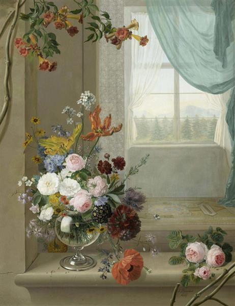 Still life of flowers on a window ledge, 1837 - Jean Benner