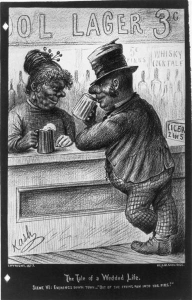 Scene Vi - Evenings down Town. Man at Bar, 1877 - Cassius Marcellus Coolidge