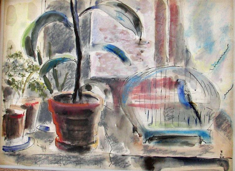 Still Life with Plant and Birdcage, 1951 - Rudolf LÁNG