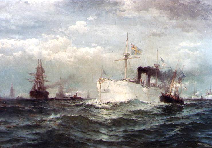The White Squadron's Farewell Salute to the Body of John Ericsson, New York Bay, 1890 - Edward Moran