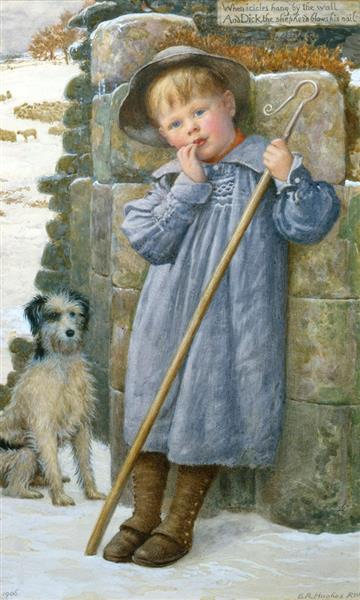 When Icicles Hang by the Wall, and Dick the Shepherd Blows His Nail - Edward Robert Hughes