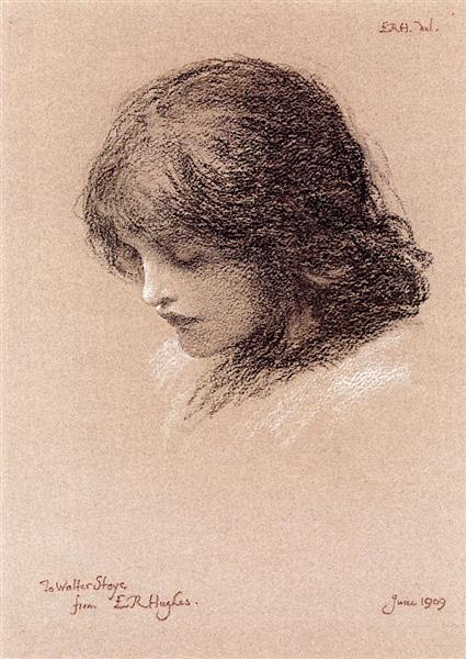 Head Study of a Young Girl, 1909 - Edward Robert Hughes