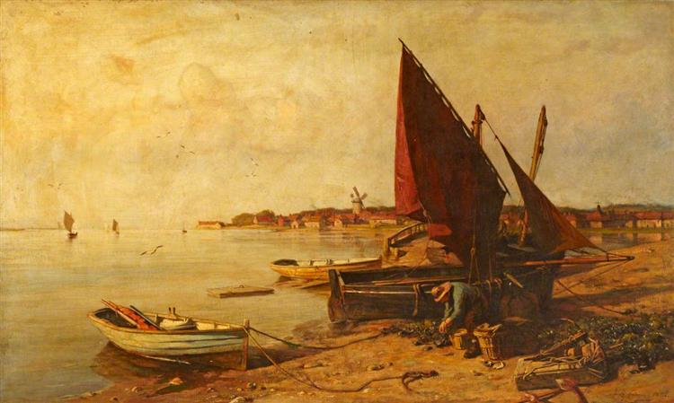 Fisherman at His Nets, 1886 - Frederick George Cotman