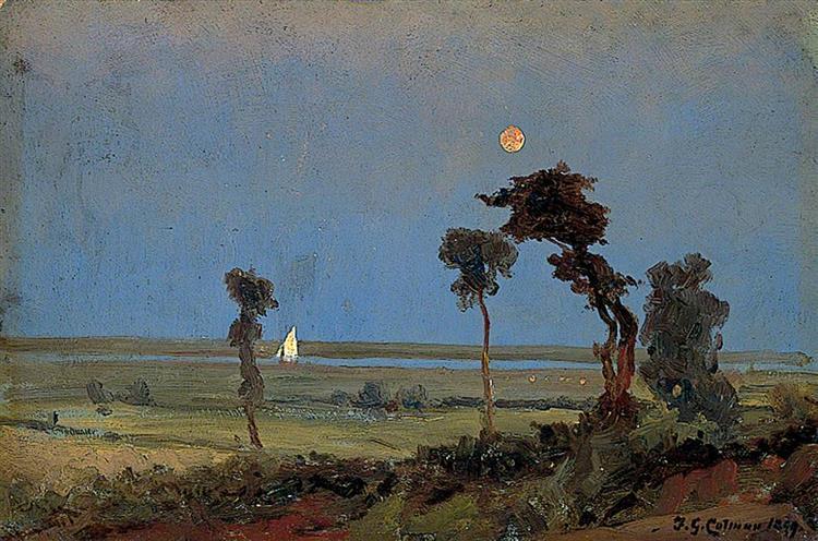 Moonlight River Scene, 1899 - Frederick George Cotman