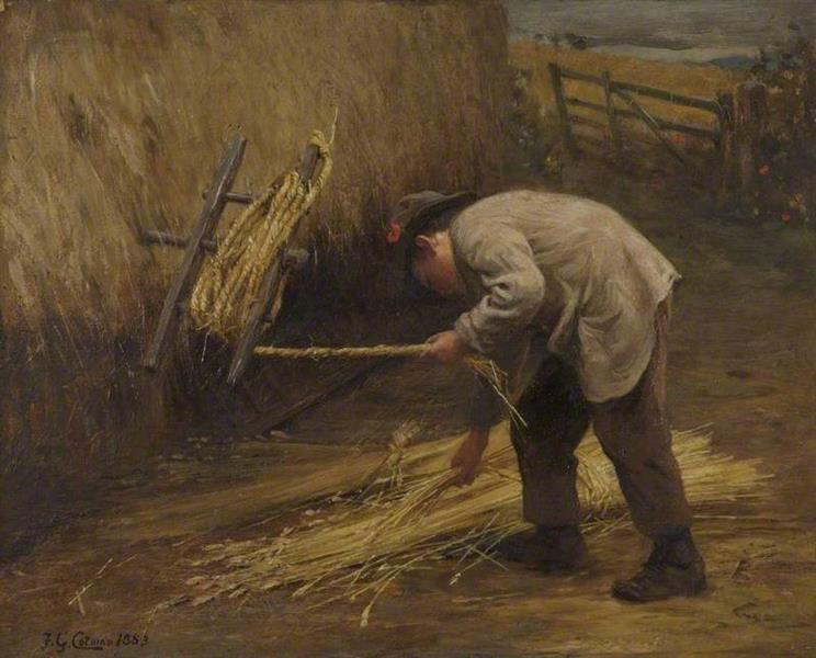 Spinning Thatch Bands, 1883 - Frederick George Cotman