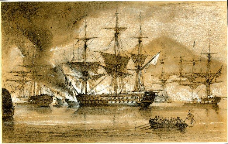 The Scipion on Entering the Harbour Ran Aboard the Brelots, 1828 - George Philip Reinagle