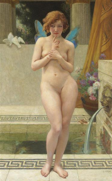 A Nymph by a Fountain - Guillaume Seignac