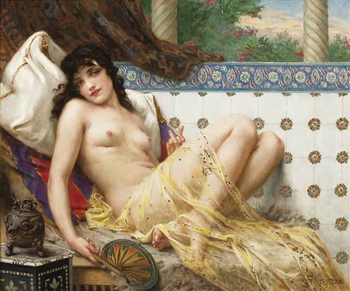 Odalisque with a Fan - Guillaume Seignac