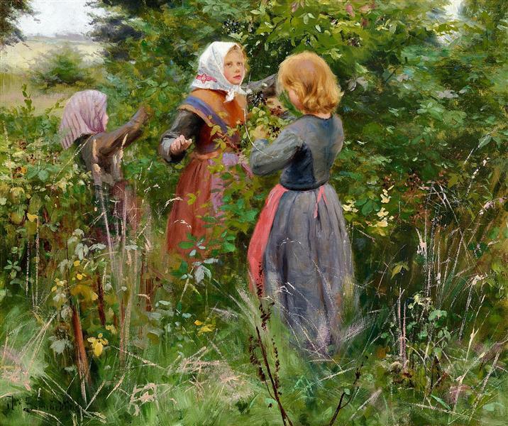 Three Little Girls Picking Blackberries painting by Hans Andersen Brendekilde (c. 1885)