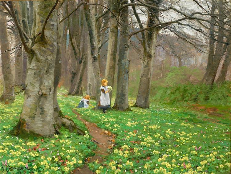 To Piger Plukker Blomster I Forårsskov., 1903 - Hans Andersen Brendekilde