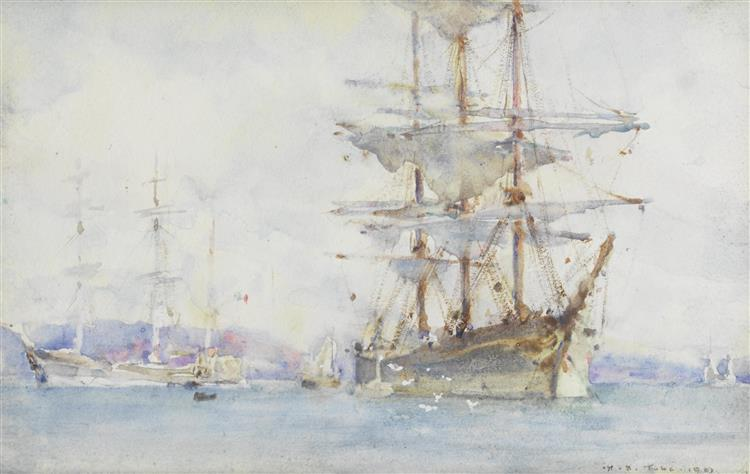 Windjammers lying on their moorings as they wait for cargo in Falmouth - Henry Scott Tuke