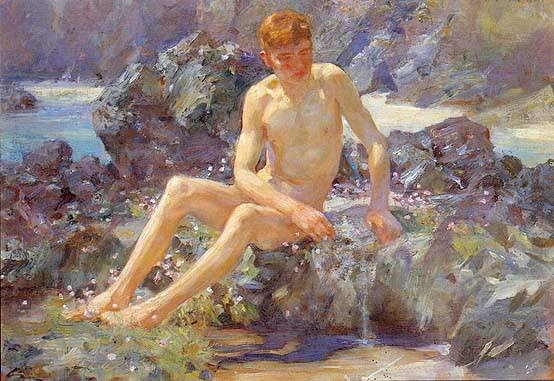 Nude on the rocks, c.1917 - Henry Scott Tuke