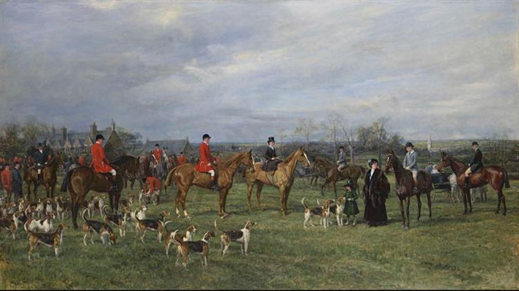 Meet of the Quorn Hounds at Kirby Gate, 1910 - Heywood Hardy