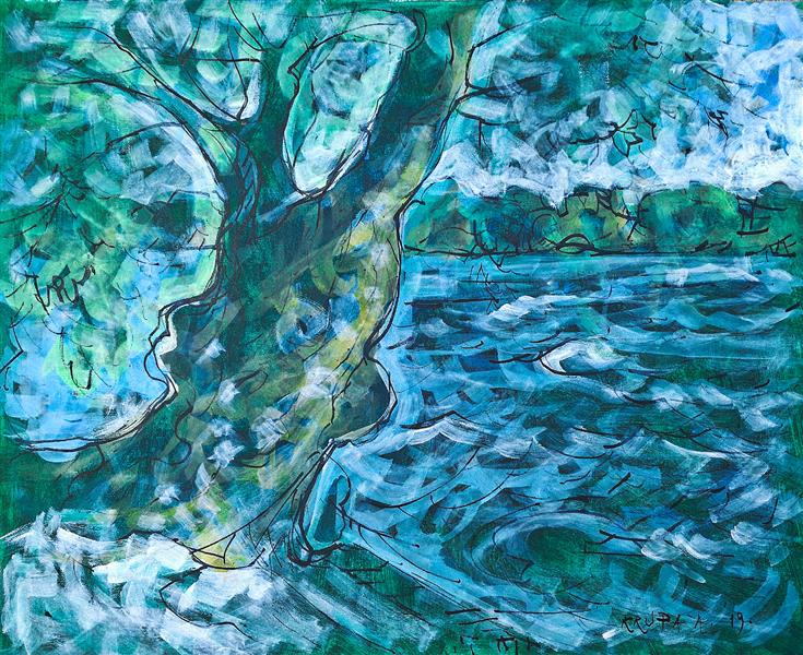 Willow on the Kupa river in Brodarci en plein-air, 2019 - Alfred Freddy Krupa