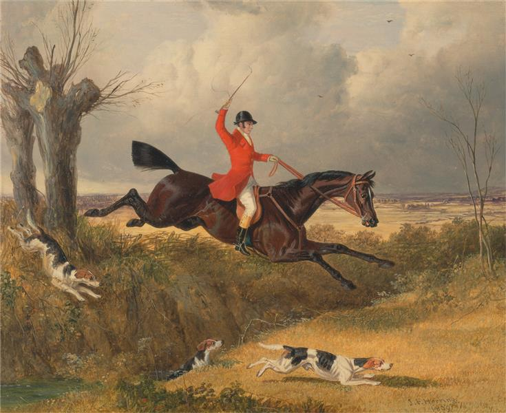 Foxhunting- Clearing a Ditch, 1839 - John Frederick Herring Sr.
