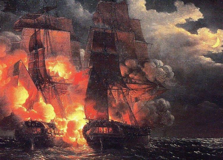 Combat Naval En Vue Des Îles De Loz, 7 Février 1813 - Louis-Philippe Crépin