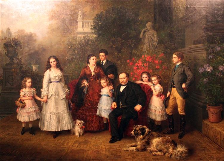 Family of the Businessman B. H. Strousberg, 1870 - Ludwig Knaus