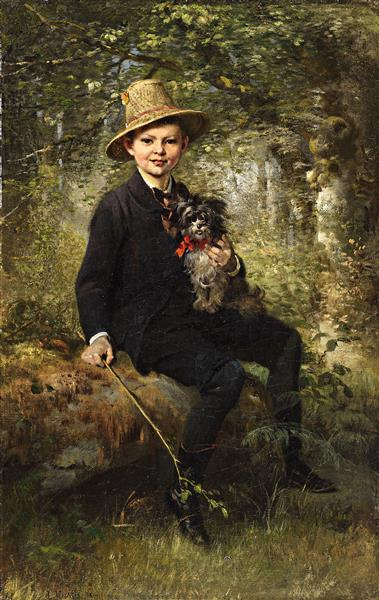 Portrait of a Boy with Dog in a Forest, 1861 - Ludwig Knaus
