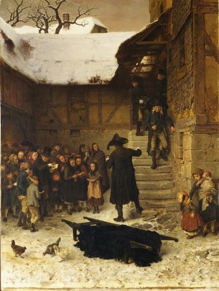 Hessisches Leichenbegängnis Im Winter, 1871 - Ludwig Knaus