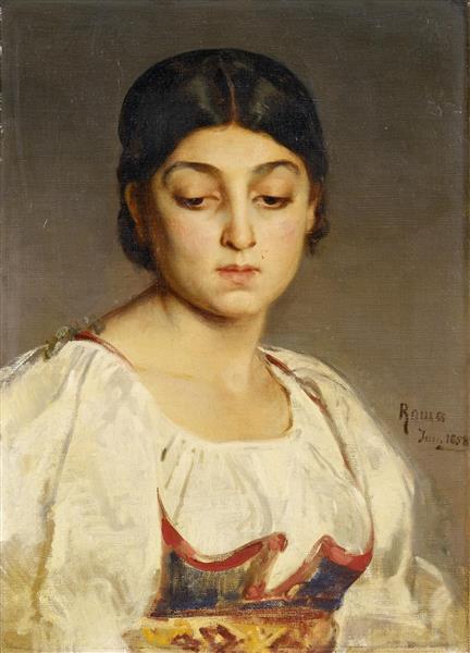 Porträt Einer Jungen Römerin, 1864 - Ludwig Knaus