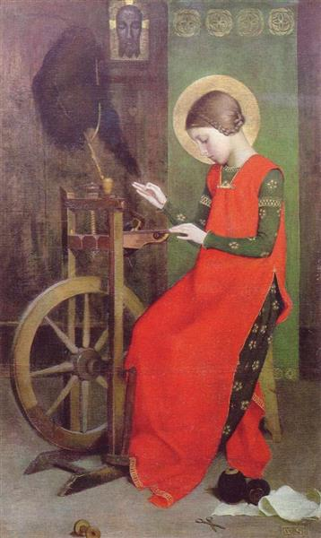 St Elizabeth of Hungary Spinning for the Poor - Marianne Stokes
