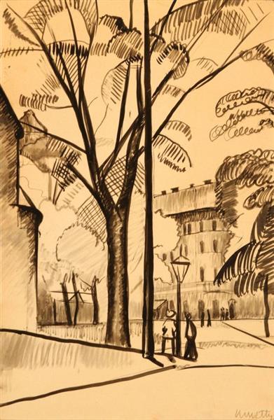 The Corner of City Park, c.1912 - Kmetty János