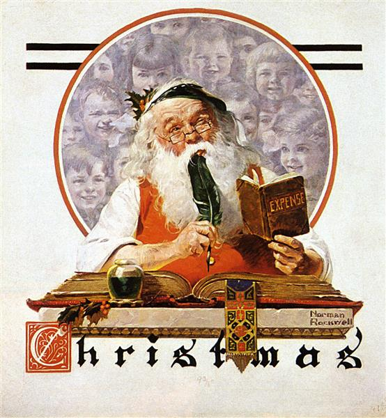 Santa and Expense Book, 1920 - Norman Rockwell