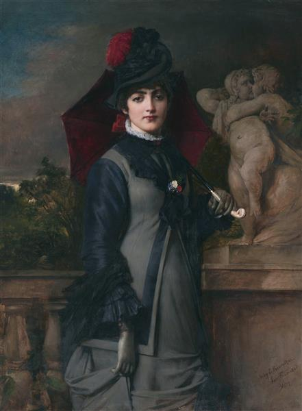 A Young Woman with a Parasol - Toby Edward Rosenthal