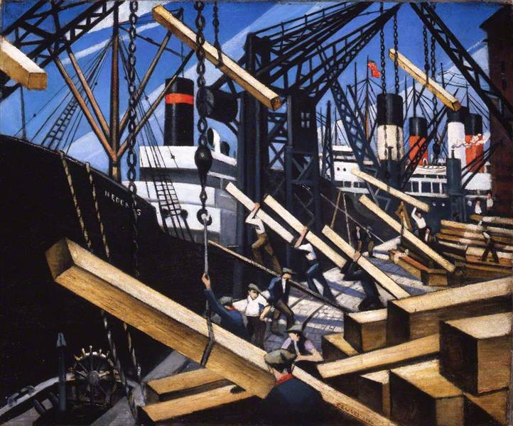 Loading Timber at Southampton Docks, 1917 - C. R. W. Nevinson