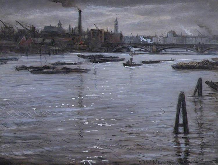 The Thames at Southwark, London, 1938 - C. R. W. Nevinson