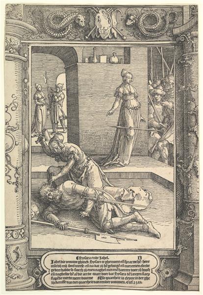 Jael Killing Sisera,  Ornamental Frame - Lucas van Leyden