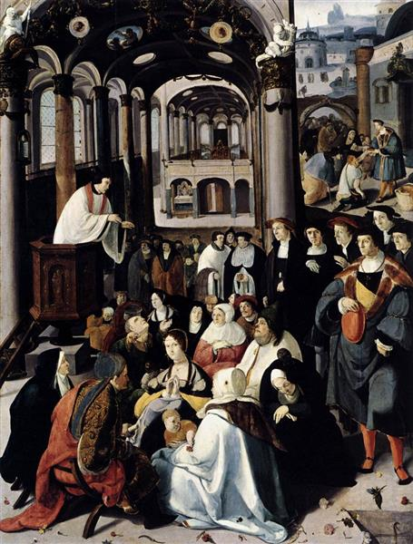 Preaching in the Church, 1530 - Лукас ван Лейден