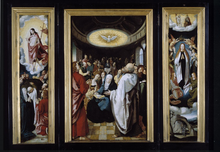 Triptych with Descent of the Holy Spirit, c.1525 - Lucas van Leyden