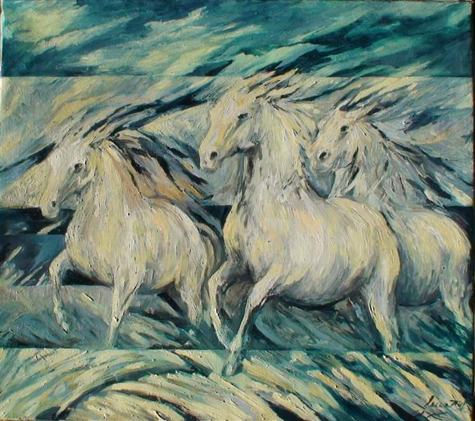 Horses white/turquoise - Małgorzata Serwatka
