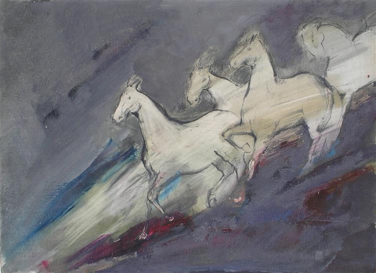 Horses - white/purple - Małgorzata Serwatka