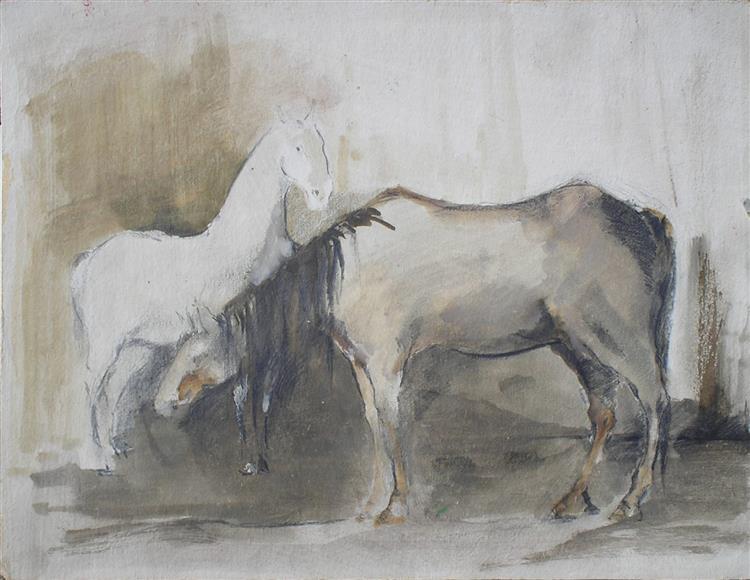 Horses - white/gray II - Małgorzata Serwatka