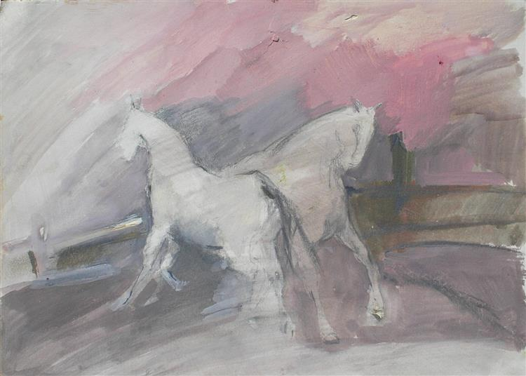 Horses white/pink - Małgorzata Serwatka