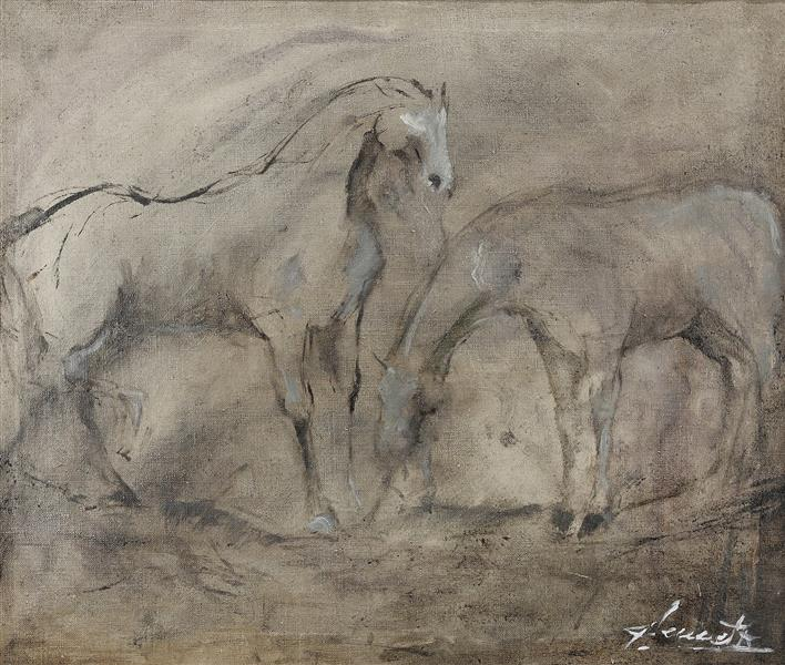 Horses - white/gray I - Małgorzata Serwatka