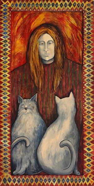 Portrait with cats - Małgorzata Serwatka