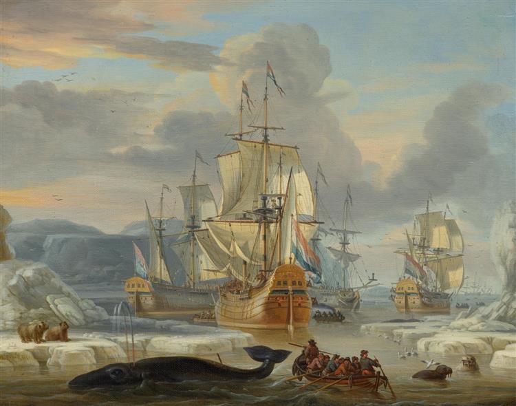 Walfänger im Eismeer - Abraham Storck