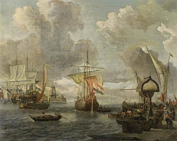 View of a Harbour on the Zuiderzee - Abraham Storck