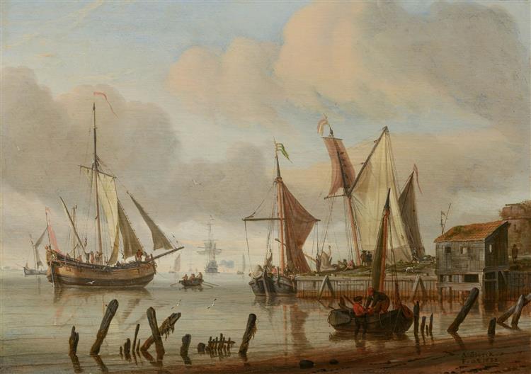 Boats at a Mooring Place - Abraham Storck