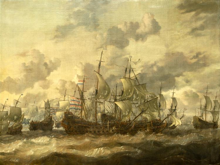 Målningen Fyradagarslaget (1-4 Juni 1666) - Abraham Storck